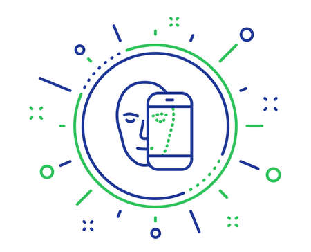 Face biometrics line icon. Facial recognition by phone sign. Head scanning symbol. Quality design elements. Technology face biometrics button. Editable stroke. Vector