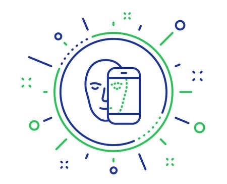 """Gesichtsbiometrie Symbol Leitung. Gesichtserkennung durch Telefonzeichen. Symbol für Kopfscannen. Hochwertige Designelemente. Schaltfläche """"Technologie Gesicht Biometrie"""". Bearbeitbarer Strich. Vektor"""