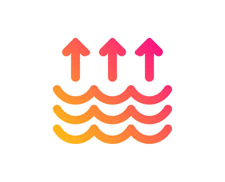 Evaporation icon. Global warming sign. Waves symbol. Classic flat style. Gradient evaporation icon. Vector