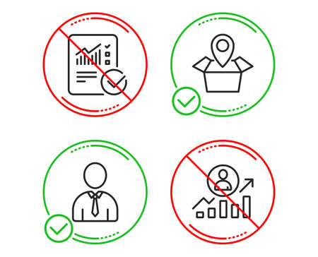 Do or Stop. Package location, Human and Checked calculation icons simple set. Career ladder sign. Delivery tracking, Person profile, Statistical data. Manager results. Business set. Vector