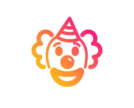 Clown icon. Amusement park funnyman sign. Classic flat style. Gradient clown icon. Vector Illustration