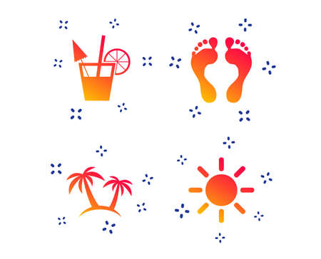 Beach holidays icons. Cocktail, human footprints and palm trees signs. Summer sun symbol. Random dynamic shapes. Gradient cocktail icon. Vector