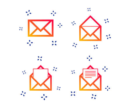 Mail envelope icons. Message document symbols. Post office letter signs. Random dynamic shapes. Gradient mail icon. Vector