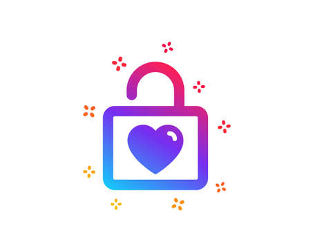 Locker with Heart icon. Love symbol. Valentines day or Wedding sign. Dynamic shapes. Gradient design wedding locker icon. Classic style. Vector