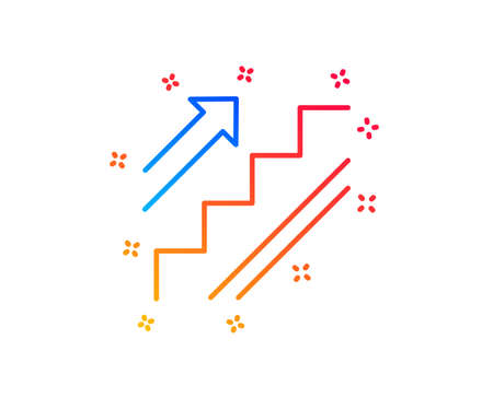 Stairs line icon. Shopping stairway sign. Entrance or Exit symbol. Gradient design elements. Linear stairs icon. Random shapes. Vector