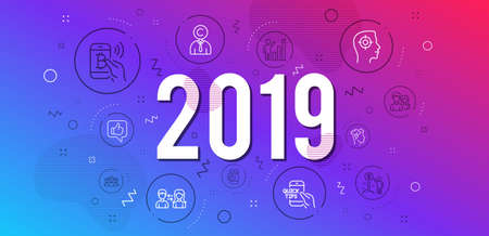 Infographic concept. Mobile like, Copyrighter and Teamwork icons simple set. Mindfulness stress, Group and Bitcoin pay signs. Education, Graph chart and Income money symbols. 2019 year. Vector Stock Illustratie