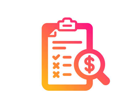 Accounting report icon. Audit sign. Check finance symbol. Classic flat style. Gradient accounting report icon. Vector