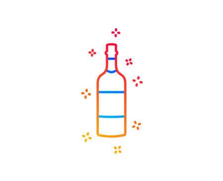 Brandy bottle line icon. Whiskey or  alcohol sign. Gradient design elements. Linear brandy bottle icon. Random shapes. Vector