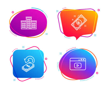 Company, Euro money and Cashback icons simple set. Video content sign. Building, Cash, Financial transfer. Browser window. Speech bubble company icon. Colorful banners design set. Vector 向量圖像