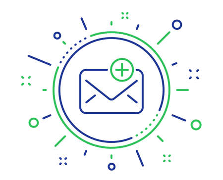 New Mail line icon. Add Message correspondence sign. E-mail symbol. Quality design elements. Technology new Mail button. Editable stroke. Vector
