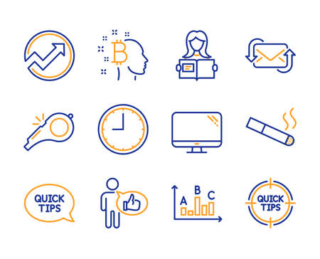 Quickstart guide, Smoking and Computer icons simple set. Woman read, Audit and Like signs. Survey results, Time and Whistle symbols. Refresh mail, Bitcoin think and Tips. Line quickstart guide icon Ilustração