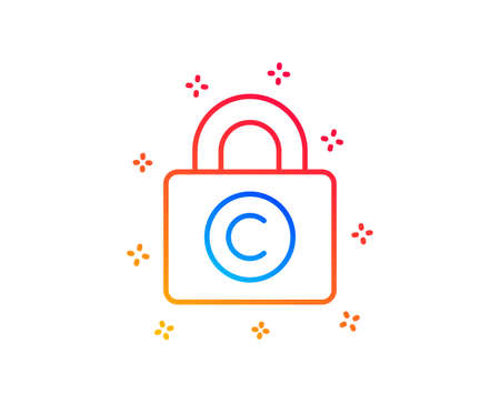 Copyright locker line icon. Copywriting sign. Private Information symbol. Gradient design elements. Linear copyright locker icon. Random shapes. Vector