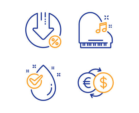 Piano, Loan percent and Water drop icons simple set. Money exchange sign. Fortepiano, Decrease rate, Clean aqua. Eur to usd. Business set. Linear piano icon. Colorful design set. Vector