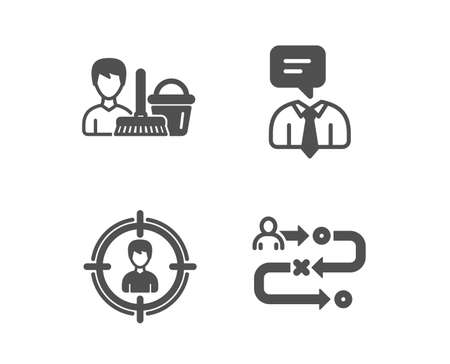 Set of Cleaning service, Support service and Headhunting icons. Journey path sign. Bucket with mop, Human talking, Person in target. Project process.  Classic design cleaning service icon. Flat design