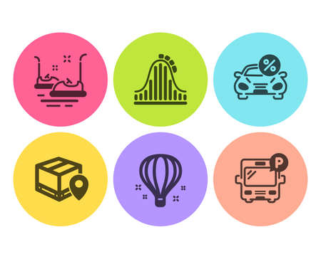 Bumper cars, Roller coaster and Parcel tracking icons simple set. Air balloon, Car leasing and Bus parking signs. Carousels, Attraction park. Transportation set. Flat bumper cars icon. Circle button Illustration