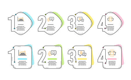 Infographic graph, Idea lamp and Happy emotion icons simple set. Star sign. Line diagram, Business energy, Web chat. Customer feedback. Business set. Infographic timeline. Line infographic graph icon Ilustração