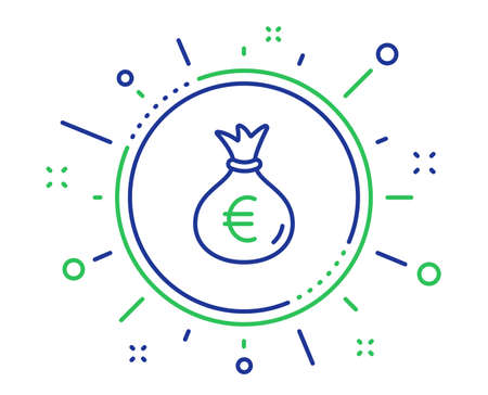 Money bag line icon. Cash Banking currency sign. Euro or EUR symbol. Quality design elements. Technology money bag button. Editable stroke. Vector Çizim