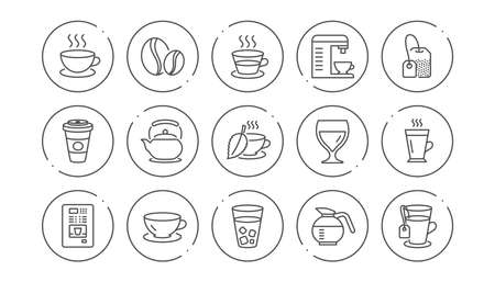 Coffee and Tea line icons. Cappuccino, Teapot and Coffeepot. Coffee beans linear icon set. Line buttons with icon. Editable stroke. Vector