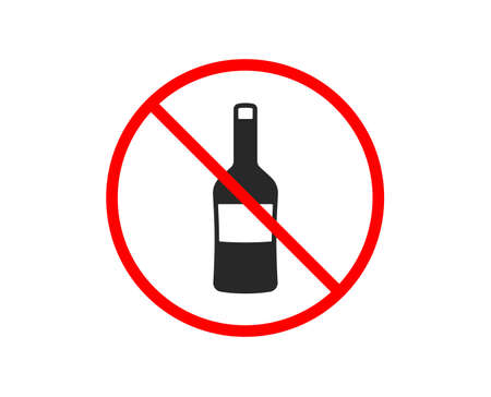 No or Stop. Wine bottle icon. Merlot or Cabernet Sauvignon sign. Prohibited ban stop symbol. No wine icon. Vector