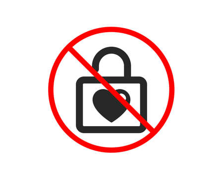 No or Stop. Locker with Heart icon. Love symbol. Valentines day or Wedding sign. Prohibited ban stop symbol. No wedding locker icon. Vector