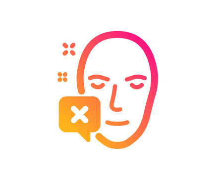 Face declined icon. Human profile sign. Facial identification error symbol. Classic flat style. Gradient face declined icon. Vector