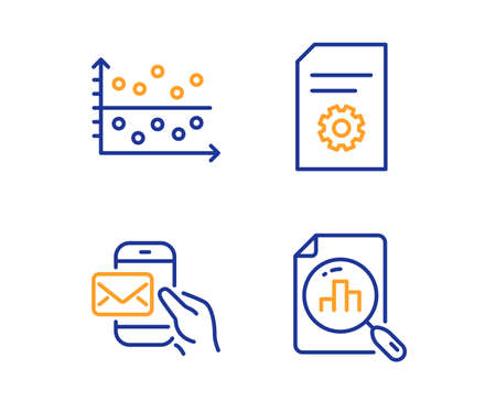 Dot plot, Messenger mail and File settings icons simple set. Analytics graph sign. Presentation graph, New e-mail, File management. Chart report. Business set. Linear dot plot icon. Vector Illustration