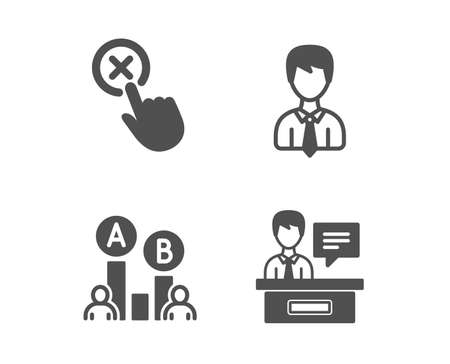 Set of Ab testing, Reject click and Businessman icons.