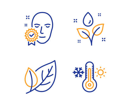 Plants watering, Face verified and Leaf icons simple set. Thermometer sign. Water drop, Access granted, Ecology. Thermostat. Healthcare set. Linear plants watering icon. Colorful design set. Vector
