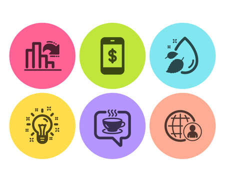Coffee, Smartphone payment and Decreasing graph icons simple set. Water drop, Idea and International recruitment signs. Cafe, Mobile pay. Business set. Flat coffee icon. Circle button. Vector