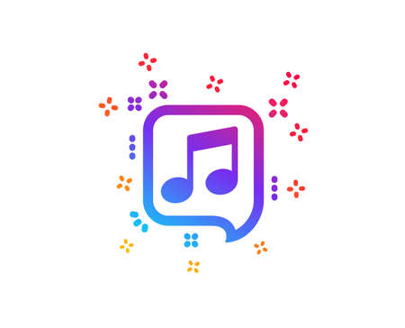 Musical note in speech bubble icon. Music sign. Dynamic shapes.