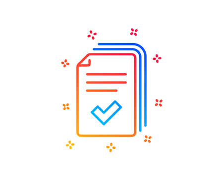 Handout line icon. Documents example sign. Gradient design elements. Linear handout icon. Random shapes. Vector  イラスト・ベクター素材