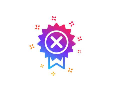 Reject medal icon. Decline award sign. Dynamic shapes. Illustration