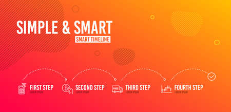 Infographic timeline. Calculator, Free delivery and Bitcoin pay icons simple set. Banque d'images - 120845897