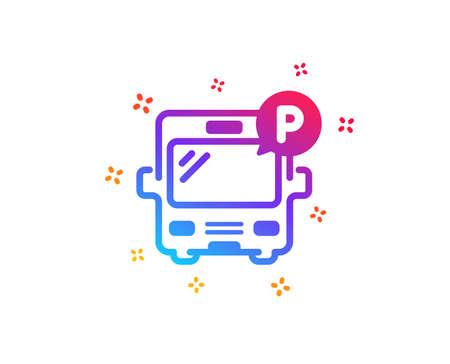 Bus parking icon. Auto park sign. Transport place symbol. Dynamic shapes. Gradient design bus parking icon. Classic style. Vector