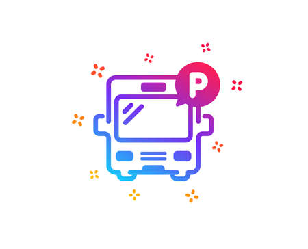 Bus parking icon. Auto park sign. Transport place symbol. Dynamic shapes. Gradient design bus parking icon. Classic style. Vector