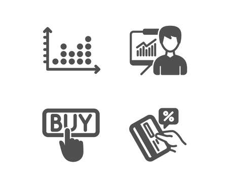 Set of Buying, Dot plot and Presentation icons. Credit card sign.