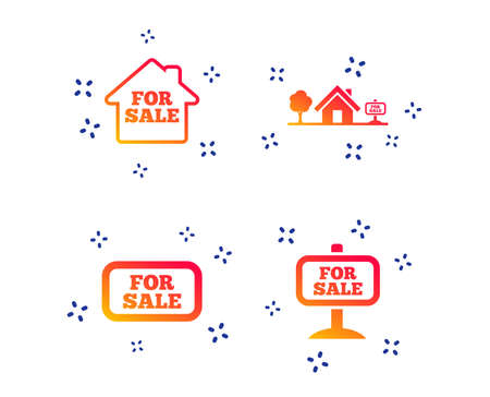 For sale icons. Real estate selling signs. Home house symbol.