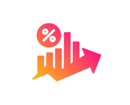Loan percent growth chart icon. Discount sign. Credit percentage symbol.