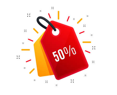 Sale tag. 50% off Sale. Discount offer price sign. Special offer symbol. Illustration