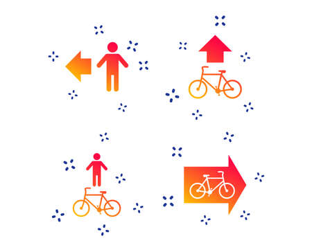 Pedestrian road icon. Bicycle path trail sign. Cycle path. Arrow symbol. Random dynamic shapes. Gradient pedestrian icon. Vector  イラスト・ベクター素材
