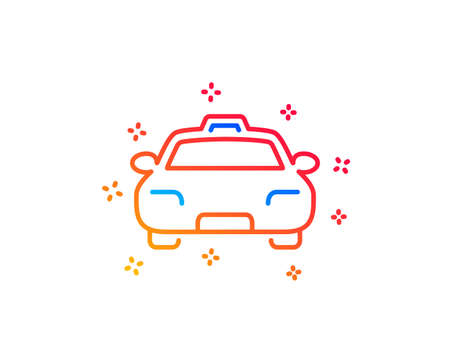 Taxi line icon. Client transportation sign. Passengers car symbol. Gradient design elements. Linear taxi icon. Random shapes. Vector