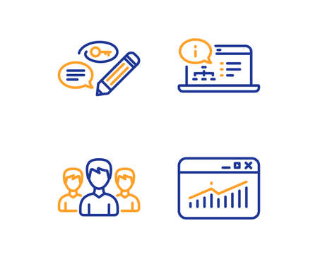Keywords, Group and Online documentation icons simple set. Website statistics sign. Pencil with key, Group of people, Web engineering. Data analysis. Linear keywords icon. Colorful design set. Vector
