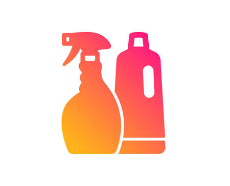 Cleaning spray and Shampoo icon. Washing liquid or Cleanser symbol. Housekeeping equipment sign. Classic flat style. Gradient shampoo and Spray icon. Vector 写真素材 - 123562333