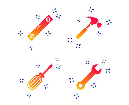 Screwdriver and wrench key tool icons. Bubble level and hammer sign symbols. Random dynamic shapes. Gradient construction icon. Vector 向量圖像