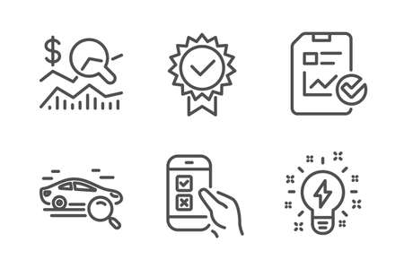 Mobile survey, Certificate and Check investment icons simple set. Search car, Report checklist and Inspiration signs. Phone quiz test, Verified award. Business set. Line mobile survey icon. Vector