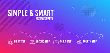 Infographic timeline. Graph laptop, Presentation and Reject mail icons simple set. Queue sign. Mobile report, Board with charts, Delete letter. People waiting. Business set. 4 steps layout. Vector Illustration