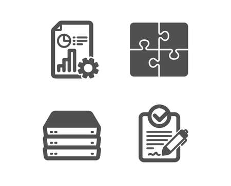 Set of Servers, Report and Puzzle icons. Rfp sign. Big data, Presentation document, Engineering strategy. Request for proposal.  Classic design servers icon. Flat design. Vector
