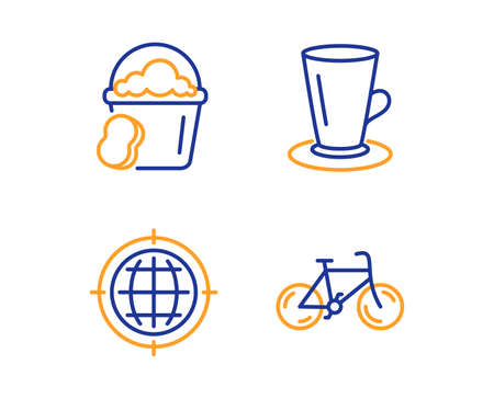 Teacup, Seo internet and Sponge icons simple set. Bicycle sign. Tea or latte, Globe, Cleaner bucket. Bike. Linear teacup icon. Colorful design set. Vector