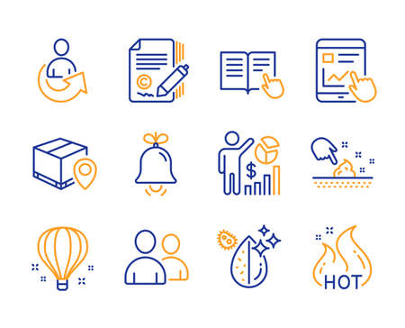 Skin moisture, Share and Parcel tracking icons simple set. Air balloon, Dirty water and Users signs. Internet report, Seo statistics and Copywriting symbols. Line skin moisture icon. Colorful set