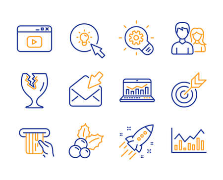 Cogwheel, Web analytics and Energy icons simple set. Teamwork, Open mail and Credit card signs. Target, Video content and Fragile package symbols. Line cogwheel icon. Colorful set. Editable stroke